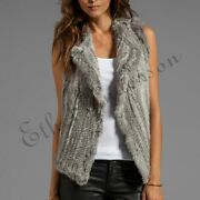 Ethel Womenand039s Real Farm Rabbit Fur Knitted Vest Gilet Casual Jacket