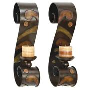 Scrolled Candle Sconces Wall Mount Votive Holders Brown Metal S-shaped Set Of 2