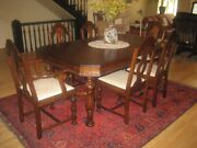 Antique English Jacobean Dining Room Set 6 Chairs Table