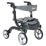 Drive Medical Nitro Aluminum Rollator Hemi Height Walker With 10 Inch Casters