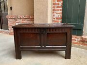 Antique English Carved Oak Coffer Trunk Chest Coffee Table Blanket Box Jacobean