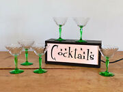 Vintage Martini Glasses With Green Stems And Swirl Glass Bowl Mid Century Modern
