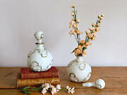 Pair Of Giant Vintage Round Opaline Glass Perfume Bottles With Stopper