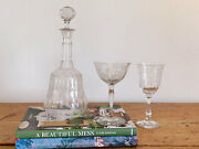 Vintage Etched Crystal Glass Decanter With Etched Crystal Coupe And Wine Glasses