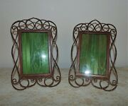 Pair Of 19th C English Brass Photo Picture Frames Ring Link Coil 4 1/4 X 6 3/4