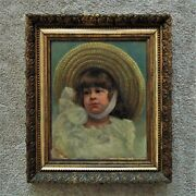 19th C. Portrait Painting Girl Child Antique Victorian Oil On Canvas American Sc