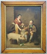 Antique 1800and039s 19c Oil Painting Portrait Man Drinking Beer With Woman And Pet Pig