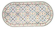 White Marble Dining Table Top Rare Mosaic Inlaid Marquetry Home Decoration H2480