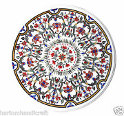 3and039x3and039 Marvelous Marble Dining Table Top Inlaid Collectible Mosaic Art Deco H998c