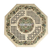 Marble Top Side Octagon Collectible Coffee Inlay Table Pauashell Real Arts H3921
