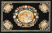 4and039x3and039 Marble Black Inlay Table Top Italian Pietra Dura Dining Table Tops H5087
