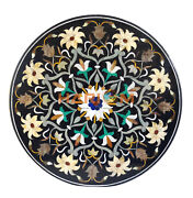 42 Black Large Marble Round Dining Room Table Inlaid Patio Marquetry Arts B132