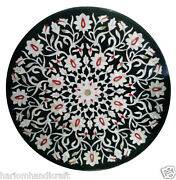 3and039x3and039 Black Marble Dining Center Table Top Mosaic Inlay Floral Home Decor H904a
