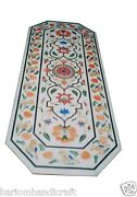 2.5and039x5and039 White Marble Dining Table Top Semi Precious Mosaic Home Decor Arts H1500