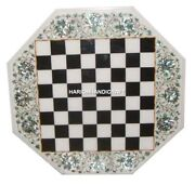Chess Game Marble Center Table Top Inlaid Seashell Stone Floral Arts Decor H4906