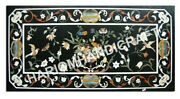 5and039x3and039 Marquetry Black Table Dining Top Interior Furniture Rare Inlay Work E974c