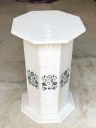 29h 15 Dia White Marble Table Top Stand Paua Shell Floral Inlaid Work E574