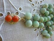 Art Deco 14k Gold Red Coral Natural, Green Jadeite Jade Beads Necklace ''