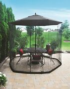 Patio Umbrella Outdoor Table Bug Screen Mesh Mosquito Net Canopy Curtains Tent
