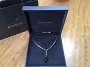 Georg Jensen Dew Drop Sterling Silver Necklace And Black Onyx Pendant