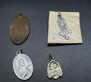 Beautiful Lot Of 4 Vintage Christian Pendants Sterling, Copper And Tin