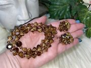 Miriam Haskell Early Cut Glass Flower Bell And Crystal Bracelet And Earring Seta17