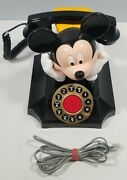 Vintage Disney Mickey Mouse Telemania Rotary Desk Phone Telephone Tested And Works
