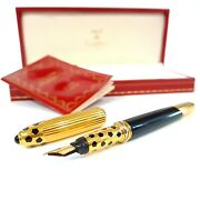 Rare Collectable Panthere De Fountain Gold-plated Pen F Nib