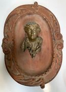 Antique Bronze Young Woman Bust Hand Carved Wood Plaque-wall Hanging-victorian
