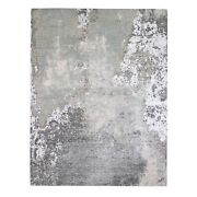 8and039x10and0394 Farsian Knot With Abstract Design Wool Hand Knotted Rug R66409