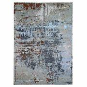 9and039x12and0396 Farsian Knot With Abstract Design Wool-silk Hand Knotted Rug R66440