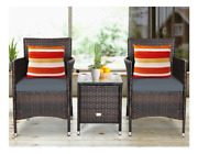 3 Piece Outside Set Furniture Outdoor Seat Glass Table Chairs