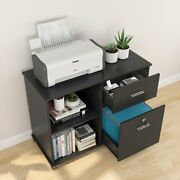 Tribesigns 2 Drawer File Cabinet With Lock Mobile Lateral Printer Stand W/ Shelf