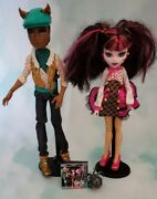 Monster High Clawd Wolf And Draculaura Forbitten Love Dolls W/ Stands Pet Dog