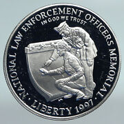 1997 Usa United States Honor Law Enforcement Protect Proof Silver Coin I89791