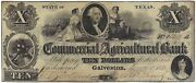 U.s.a. Texas Commercial And Agricultural Bank Galveston 10 Jany 1 1848 Vf/ef