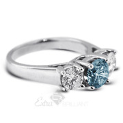 1.52ct Blue Vs2 Round Natural Certified Diamonds 18k Classic Engagement Ring