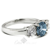 1.33ct Blue Si2 Round Natural Certified Diamonds 18k Classic Engagement Ring