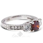 1.74ct Red Si1 Round Natural Certified Diamonds 18k Classic Three-stone Ring