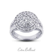 1.25ct F Vs2 Round Natural Certified Diamonds 14k White Gold Halo Promise Ring