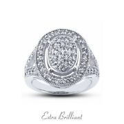 0.89ct E Vs2 Round Natural Certified Diamonds 14k White Gold Halo Promise Ring