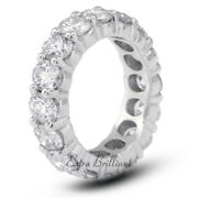 3 1/2ct F Si2 Round Natural Certified Diamonds 14kw Gold Classic Eternity Band