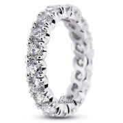 2ct H Vs2 Round Earth Mined Certified Diamonds Platinum Classic Eternity Ring