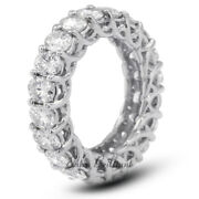 4 1/2ct I Si1 Round Earth Mined Certified Diamonds 18k White Gold Eternity Ring