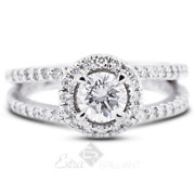 1.41ct G/si1 Round Natural Certified Diamonds 14kw Gold Halo Side-stone Ring