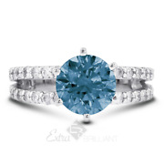 1.28ct Blue Vs1 Round Cut Earth Mined Certified Diamonds 14k Gold Sidestone Ring