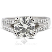 1.14ct G/si1 Round Earth Mined Certified Diamonds 18k White Gold Side-stone Ring