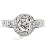 1.65ct D/si1 Round Natural Diamonds 18k White Gold Halo Side-stone Ring