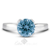 1.11ct Blue Si2 Round Cut Earth Mined Certified Diamonds 18k Gold Sidestone Ring