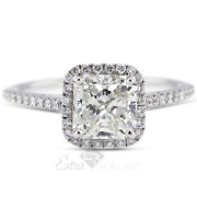 1.32ct D/si1 Radiant Natural Diamonds 18k White Gold Halo Side-stone Ring